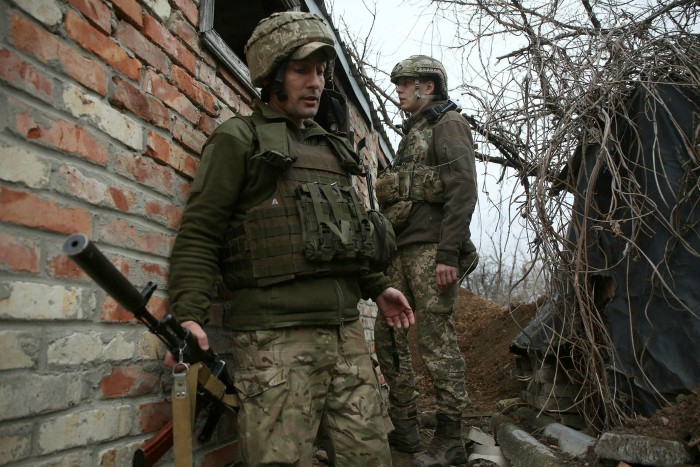 Ukrainian soldiers near Marinka in the Donetsk region of Ukraine
