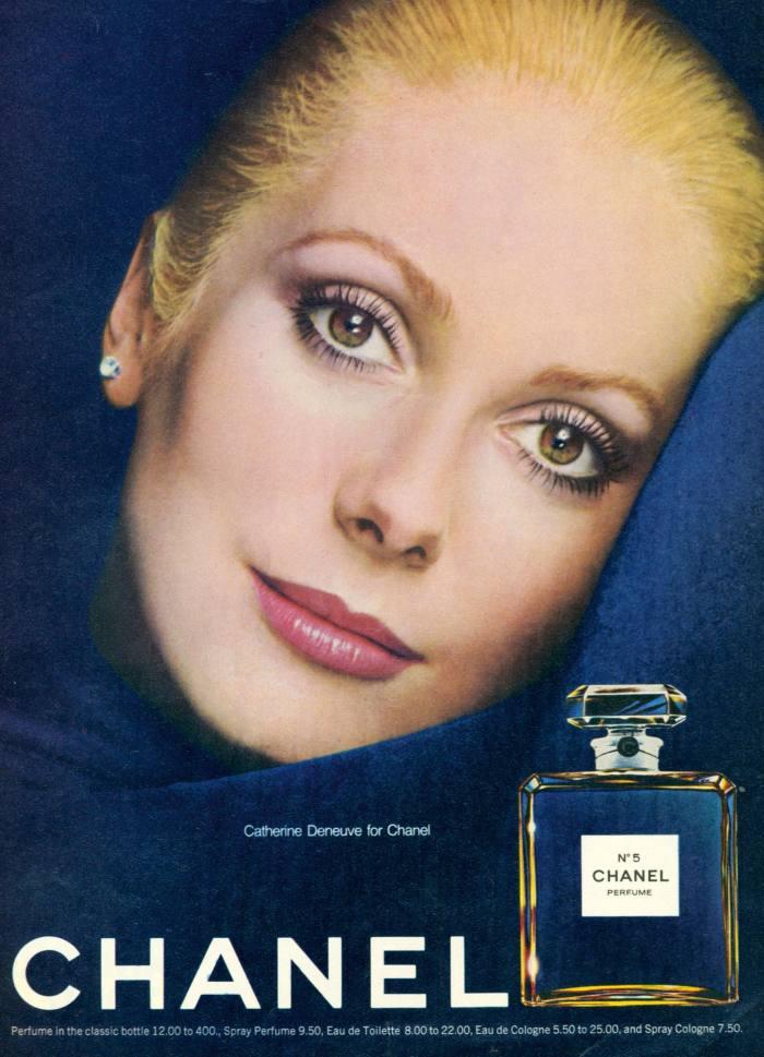 Catherine Deneuve in a1970s magazine advert for No 5