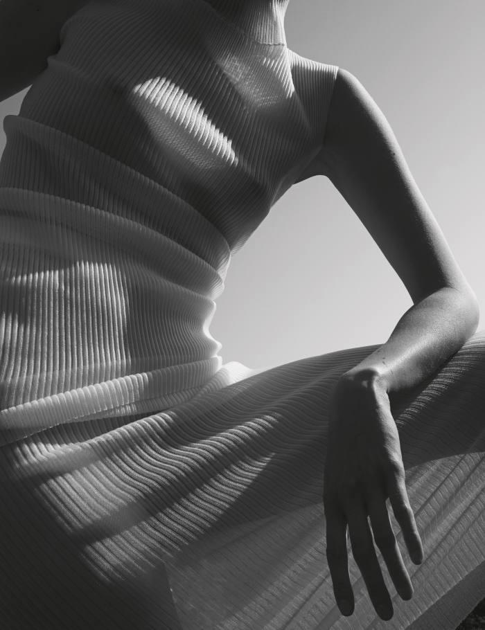 Gerbase Skinsnylon-mixtunic, £210, andmatching tube skirt, £210