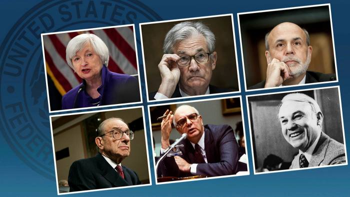Current Fed chair Jay Powell, top row, centre, with, clockwise from left, former chairs Janet Yellen, Ben Bernanke, G William Miller, Paul Volcker and Alan Greenspan