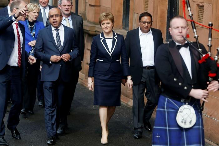 Nicola Sturgeon, Scotland's first minister, Sanjeev Gupta and Ravi Trehan