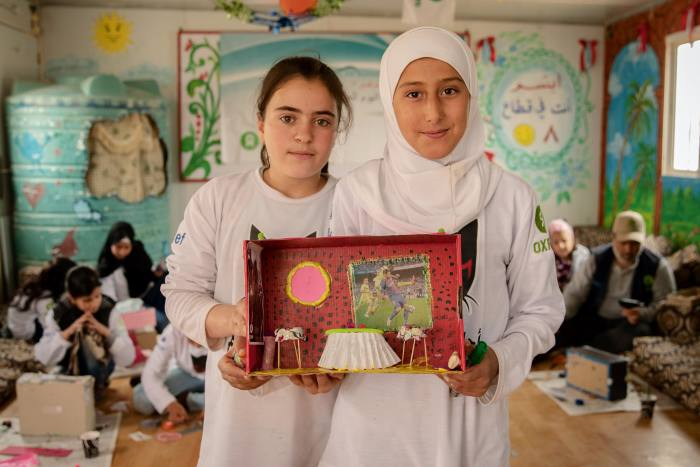 Haneen (left) andHala, both 11, with their shoebox