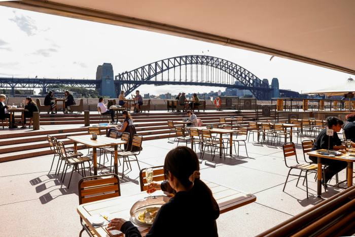 Two bars at the Opera House have reopened but the quays have not yet become swamped by crowds