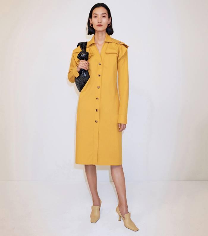 Bottega Veneta dress, £950, pumps, £595, BV Jodie bag, £2,205, andearrings, £495