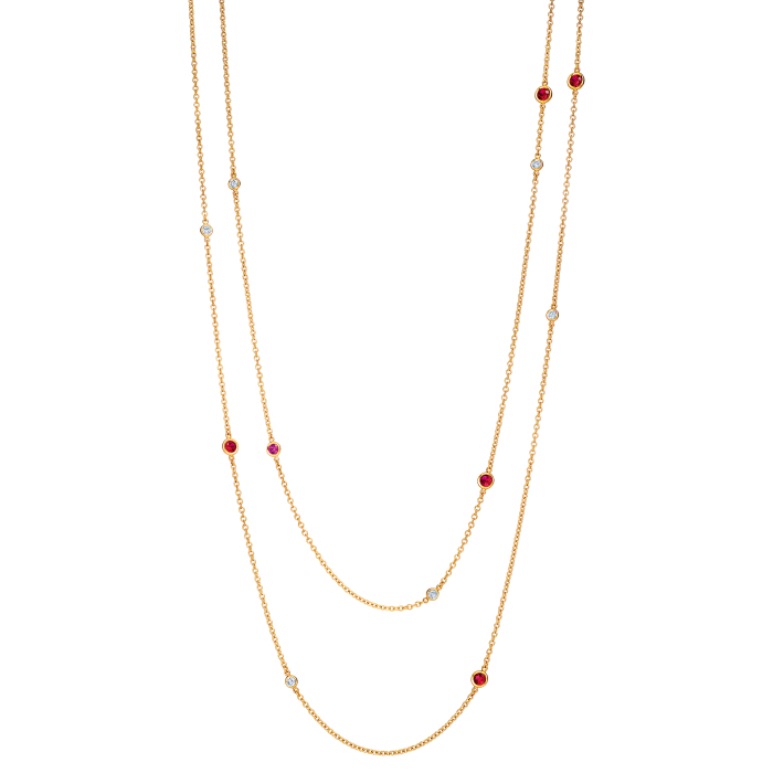 Tiffany & Co Elsa Peretti Color By The Yard gold and ruby Sprinkle necklace, £10,100