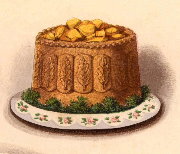 Yorkshire pie with aspic jelly. Chromolithograph from Cassell's Book of the Household (London, c1895).