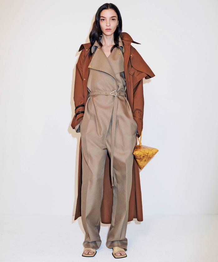 Bottega Veneta coat, £1,900, jumpsuit, £1,480, sandals, £475, and Pyramid bag, £1,600