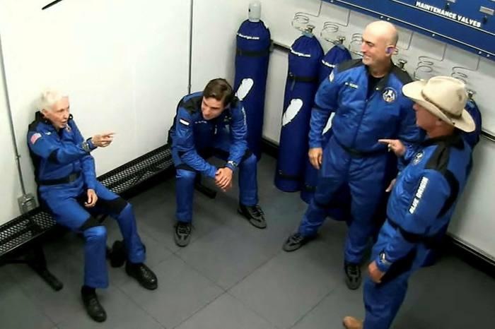 Blue Origin's crew prepare to board: (L-R) Wally Funk, Oliver Daemen, Mark Bezos and Jeff Bezos   - https 3A 2F 2Fd1e00ek4ebabms - Fiercest billionaire space race is Bezos vs Musk