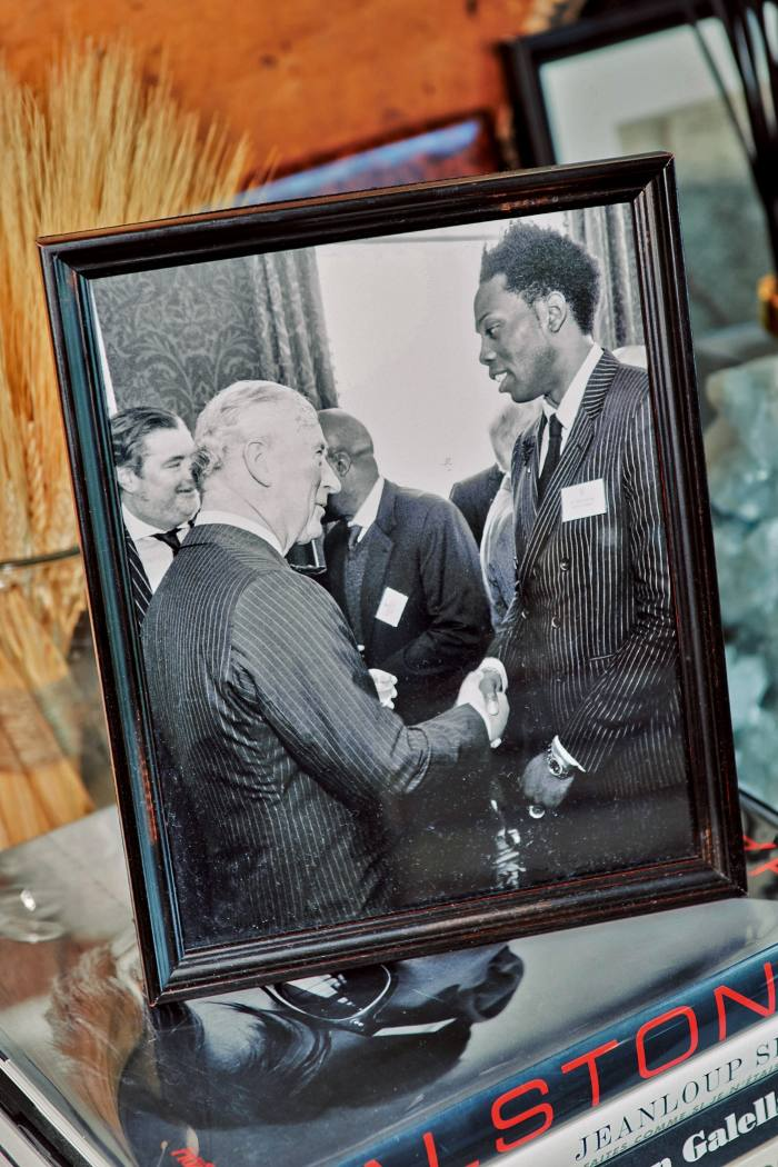 Meeting Prince Charles at Clarence House – Sauvage designed a collection for his royal visit to Ghana