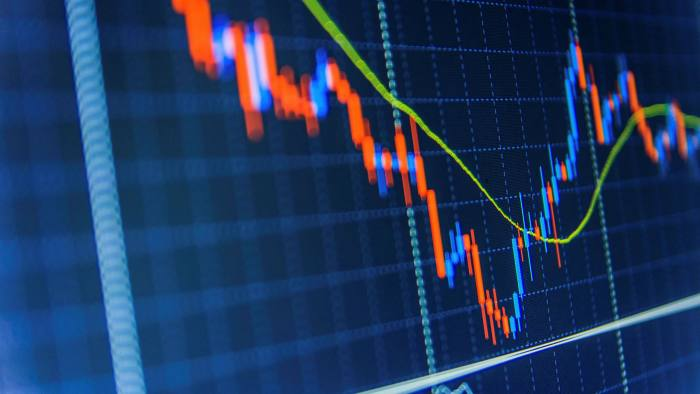 Stock market graph and bar chart price display