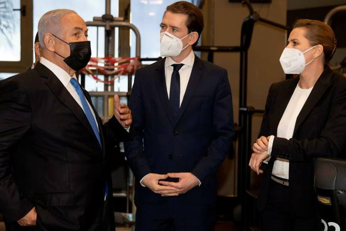 Kurz meeting Benjamin Netanyahu, Israel's prime minister, to forge a future 'vaccine alliance', alongside Mette Frederiksen, Denmark's prime minister