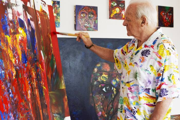 Hopkins at work in his studio
