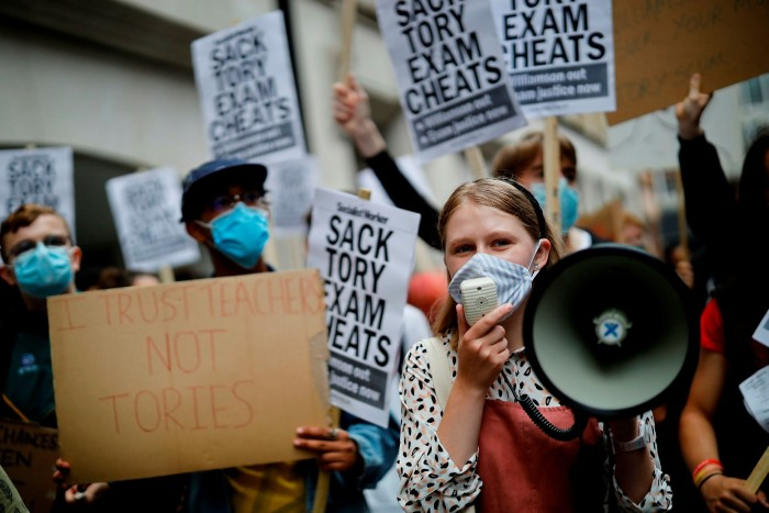 Students protest in London last summer against the downgrading of A-level results. The government is eager to avoid a repeat of the exams fiasco
