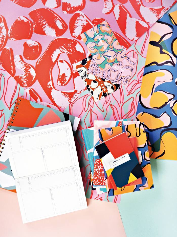 The Completist wrapping paper, from £2.50, planner, from £12.50, and notebooks, from £10