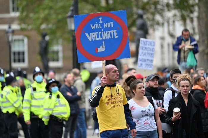 Anti-vaccination protesters in London. Medical experts fear EU uncertainty over the Oxford/AstraZeneca jab will fuel vaccine scepticism