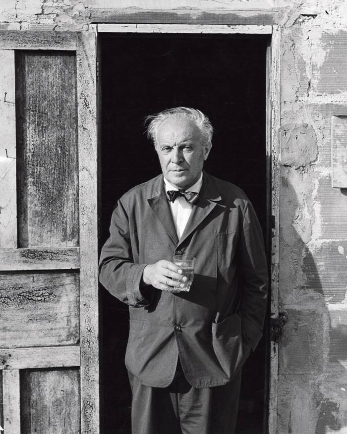 Gio Ponti on the building site for Villa Planchart in Caracas, 1955