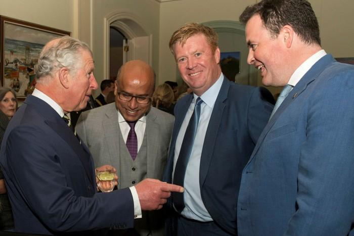Sanjeev Gupta with Prince Charles, Damian Judd and Jay Hambro