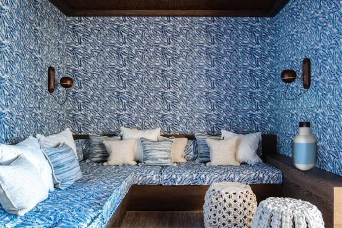 The indoor-outdoor cinema room designed by Natalia Miyar for an Ibizan villa