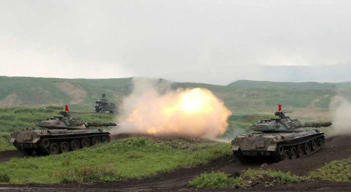 Japan's Ground Self-Defense Force conducts a firing drill in May