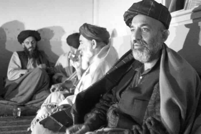 Hamid Karzai meets tribal leaders in Kandahar, Afghanistan, in 2001