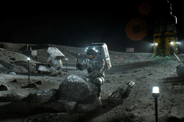An illustration by Nasa depicts Artemis astronauts on the Moon as envisaged by a new Nasa programme