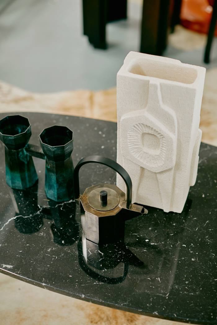 From left: Water Tower VIII by Kenny Yong-soo Son of Studiokyss, about £756, No 11 Teapot by Hendrik Forster and Kenny Yong-soo Son, about £492, and Brutalist Totem by Jan Vogelpoel, about £474