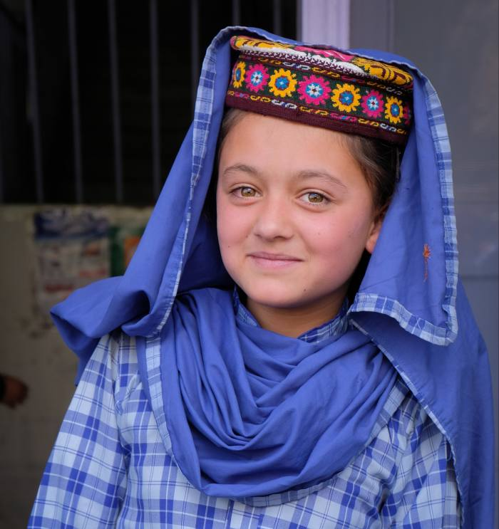 A schoolgirl in Shiskat, a small village in the Hunza Valley
