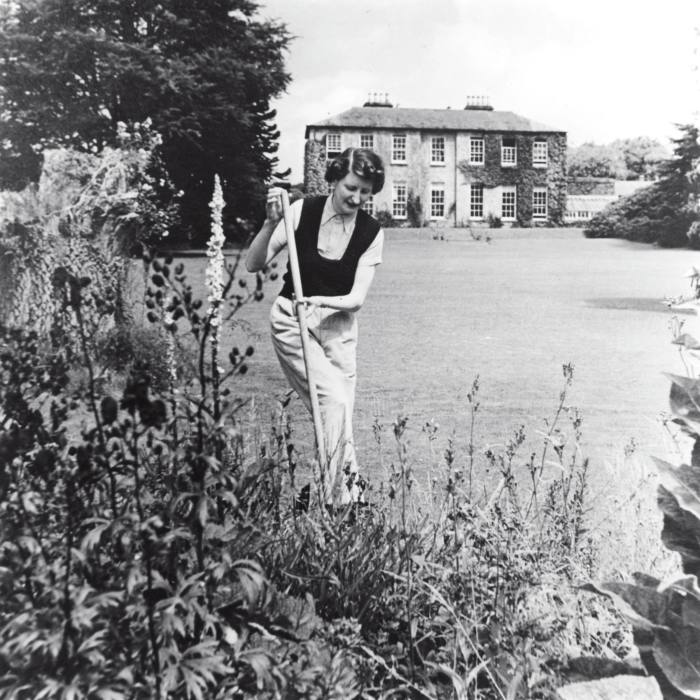 Molly Keane in her garden at Belleville, County Waterford, in 1939
