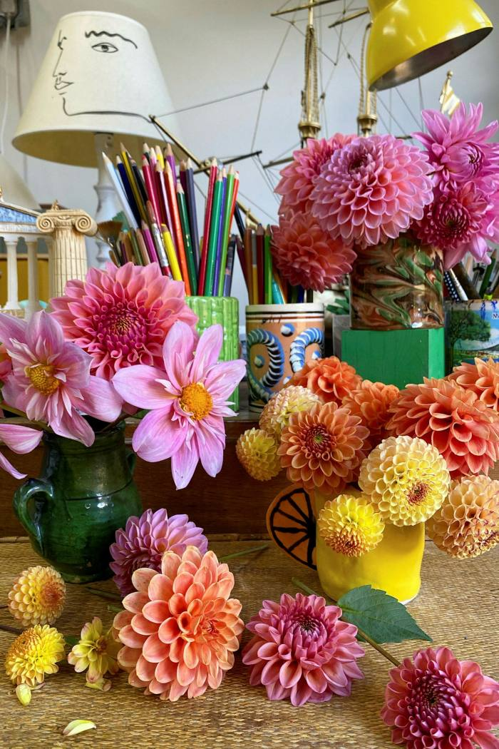 'The dahlias have provided the best source of interior decoration for months now,' says Luke Edward Hall