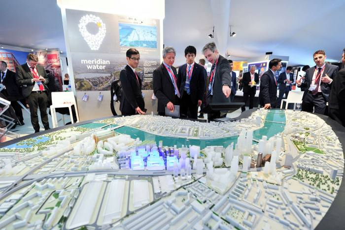 The City of London stand at the Mipim property fair, Cannes, in 2017