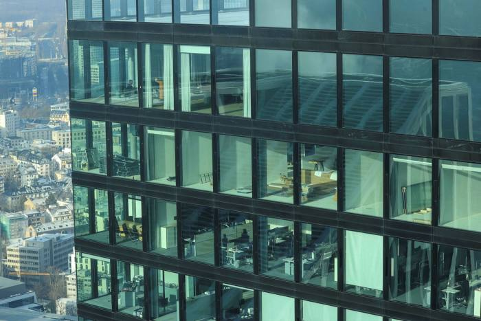 Office blocks such as this one in Frankfurt have been emptied by the pandemic and most workers say they would like to continue to work from home to some extent afterwards