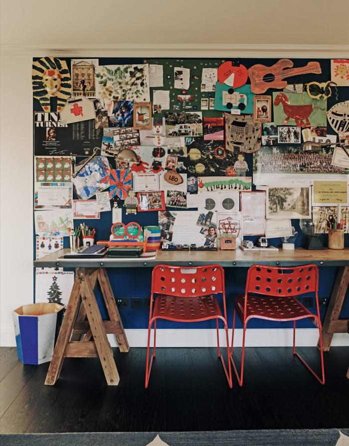 The table and noticeboard in the children's playroom/homeschool classroom
