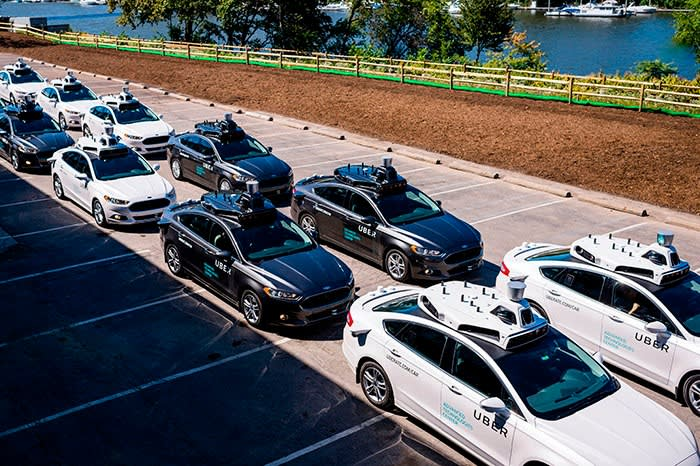 Pilot models of Uber's self-driving cars in Pittsburgh, Pennsylvania, in 2016. After a fatality in 2018, Khosrowshahi says: 'I think we held ourselves accountable. We stopped operations, and we rebuilt from the ground up'