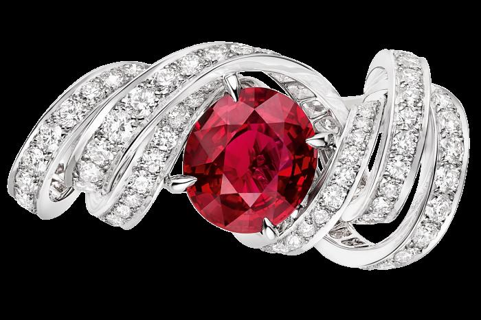 White-gold, diamondand Vivid Red Mozambique ruby Torsade de Chaumet ring, POA