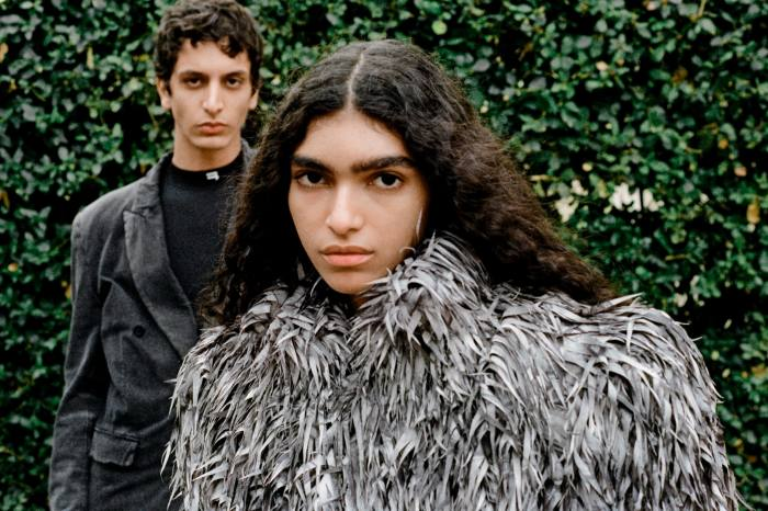 Left: vintage jersey worn-out slim jacket, £1,550. Technical-jersey fitted top, £350Right: laser-cut fake-fur jacket, £9,150. All Balenciaga