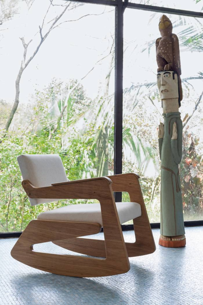 A rocking chair designed by Bo Bardi in the Concrete and Glass House