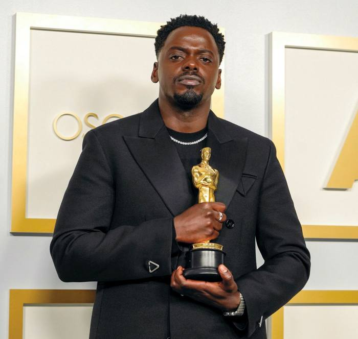 Daniel Kaluuya wore a Cartier diamond necklace during the 93rd Annual Academy Awards, 2021
