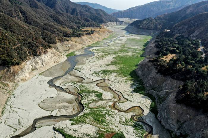 The exposed San Gabriel riverbed, near Los Angeles, in June. The river and nearby reservoir are almost completely dry after a winter of extremely low precipitation