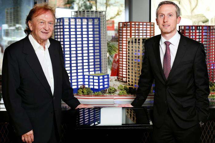 Sean Mulryan, left, founding chairman of Ballymore, with his son John, the managing director