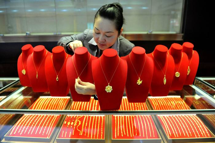 A gold store in Lin'an, Zhejiang province. China has been hit by a fall in jewellery purchases due to coronavirus restrictions