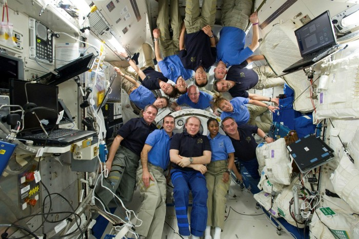 Thirteen people on the space station in 2010