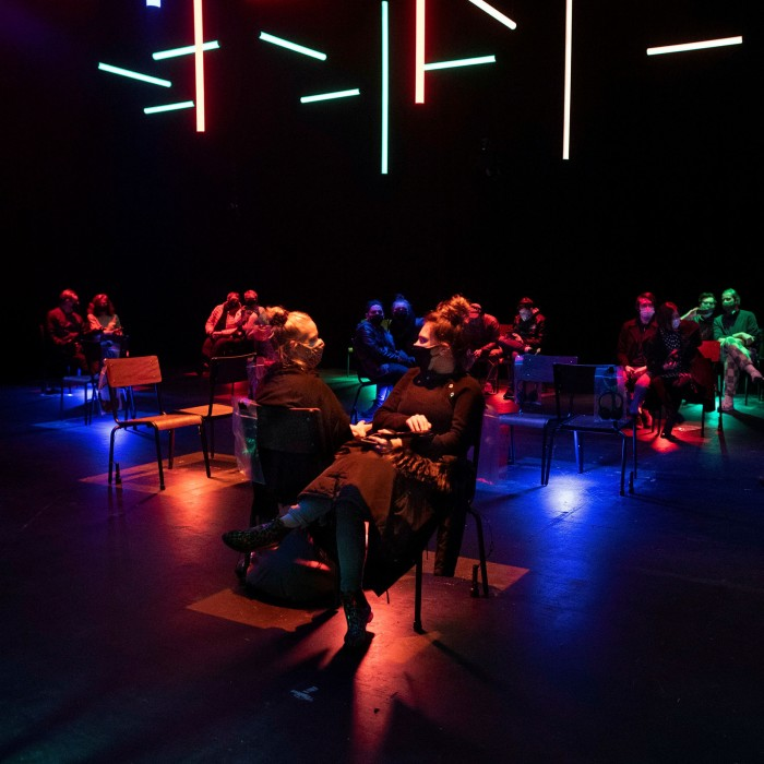 A socially distanced audience at a performance of 'Blindness' at the Daryl Roth Theatre, New York