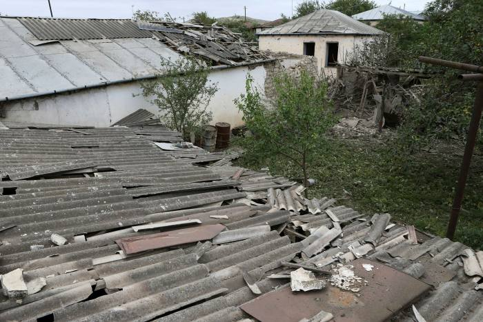 A view of houses that locals said were damaged during recent shelling by Azeri forces, in the town of Martuni in the breakaway Nagorno-Karabakh region on Monday