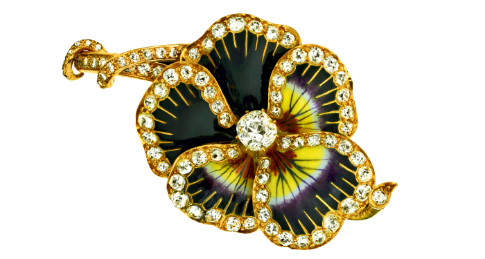 Eliane Fattal 19th-century gold, enamel and diamond Pansy brooch restyled asaring, £35,000