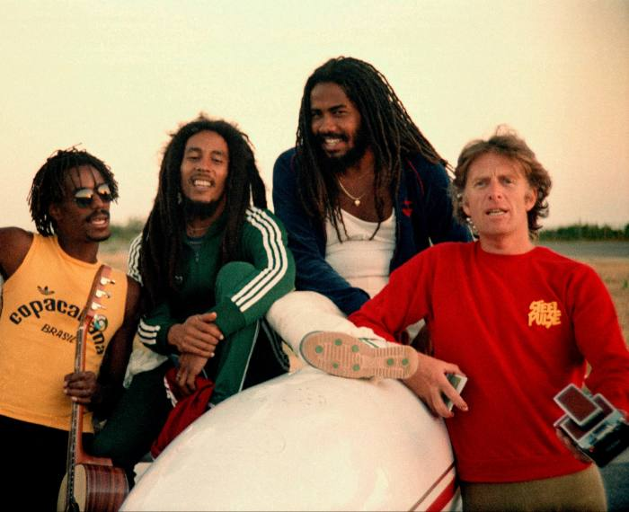 Blackwell with (from left) Junior Marvin, Bob Marley and Jacob Miller, 1980