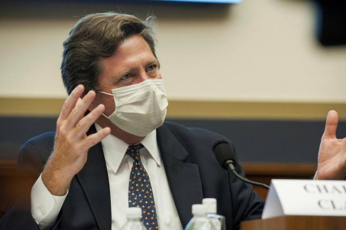 SEC chairman Jay Clayton testifies last week before the House Committee on Financial Services hearing, 'Capital markets and emergency lending in the Covid-19 era'. He said regulators were looking at how to improve disclosure