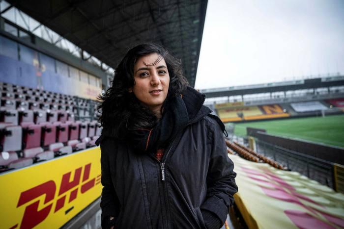 Former Afghanistan women's football captain Khalida Popal at Farum Park stadium, Denmark