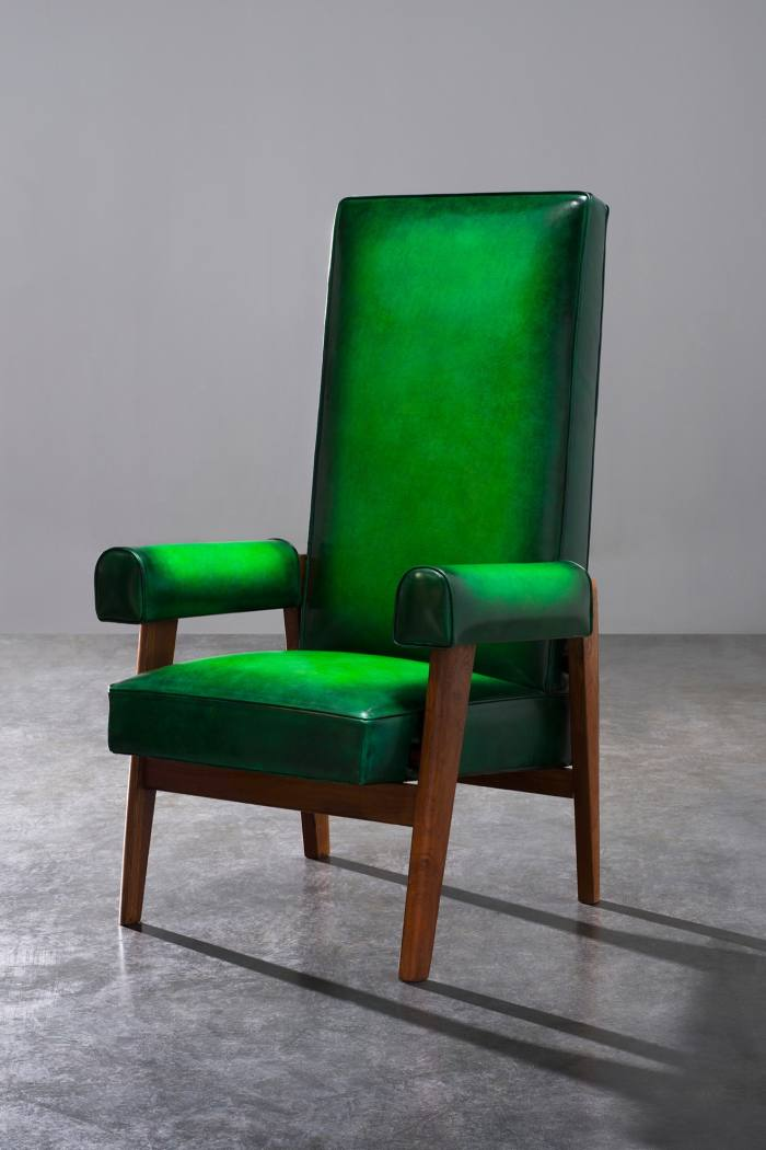 Pierre Jeanneret Judge Chair upholstered in Berluti leather