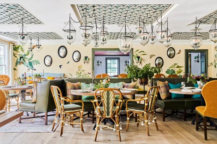 The garden dining room at the Mayflower Inn