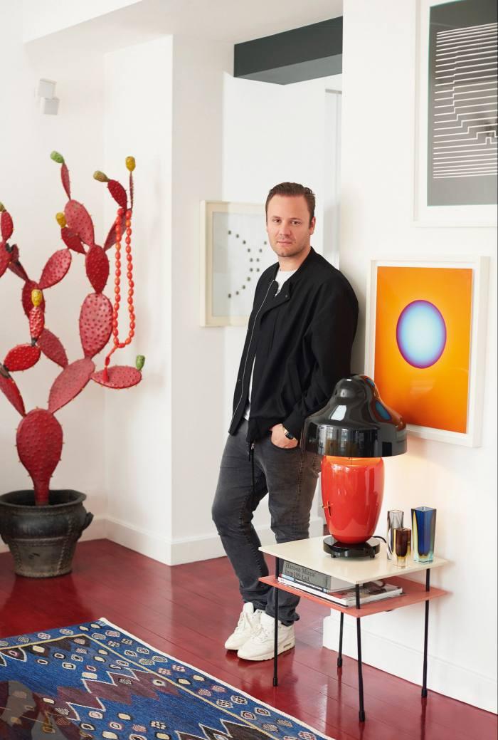 Nicholas Kirkwood in his living room